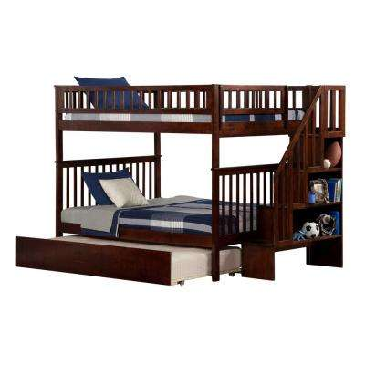 Woodland Walnut Full Over Full Staircase Bunk Bed with Twin Size Urban Trundle Bed