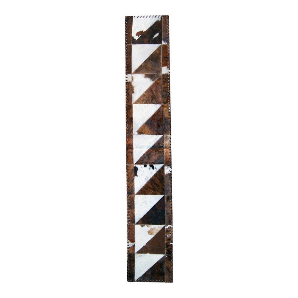 natural Natural Stitch Natural and Chocolate 1 ft. x 6 ft. Cowhide Runner