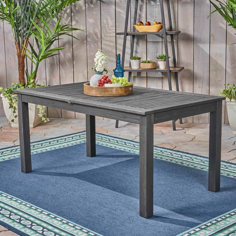 Nestor Dark Gray Rectangular Wood Expandable Outdoor Dining Table