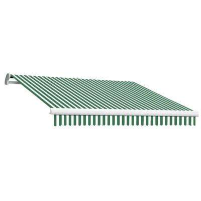 12 ft. MAUI EX Model Left Motor Retractable Awning (120 in. Projection) in Forest Green and White Stripe