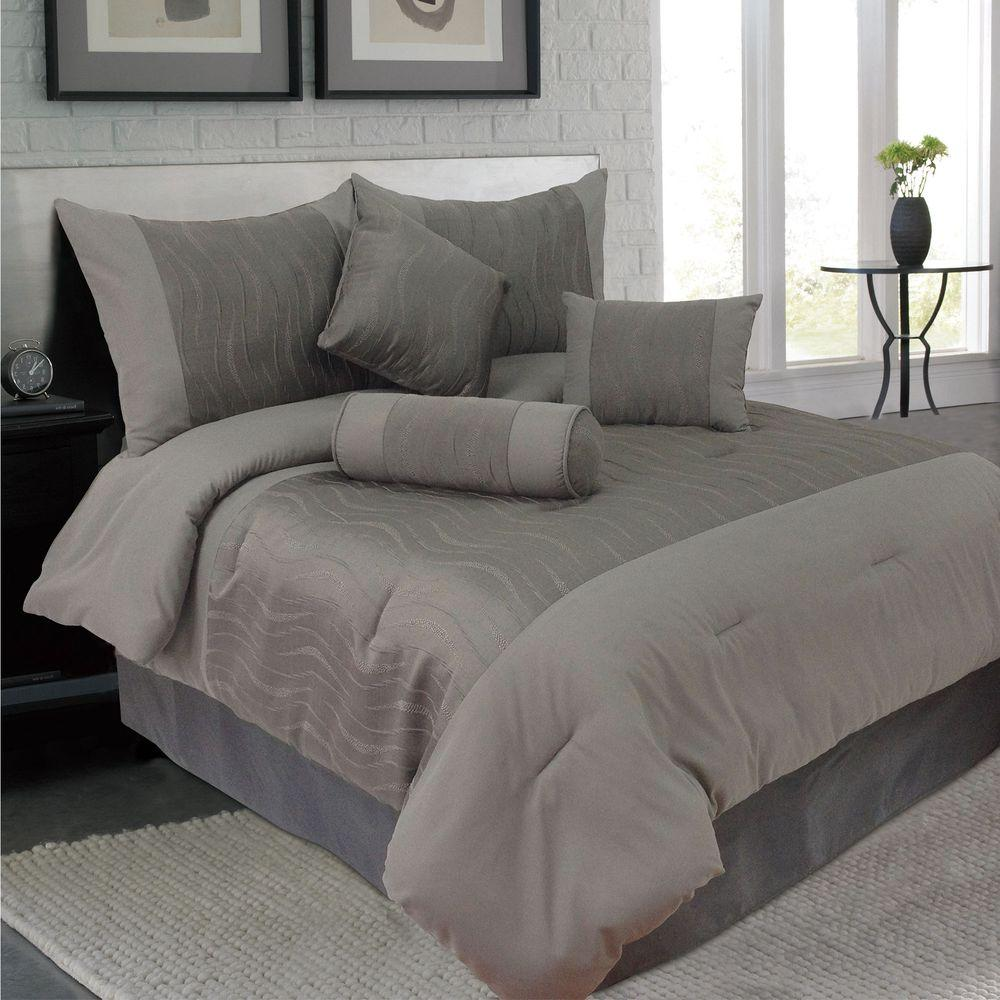 Lavish Home King Emily Jacquard Comforter Set (7-Piece)
