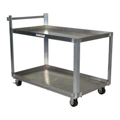 Aluminum Service Cart with Two 28 in. x 48 in. Shelves