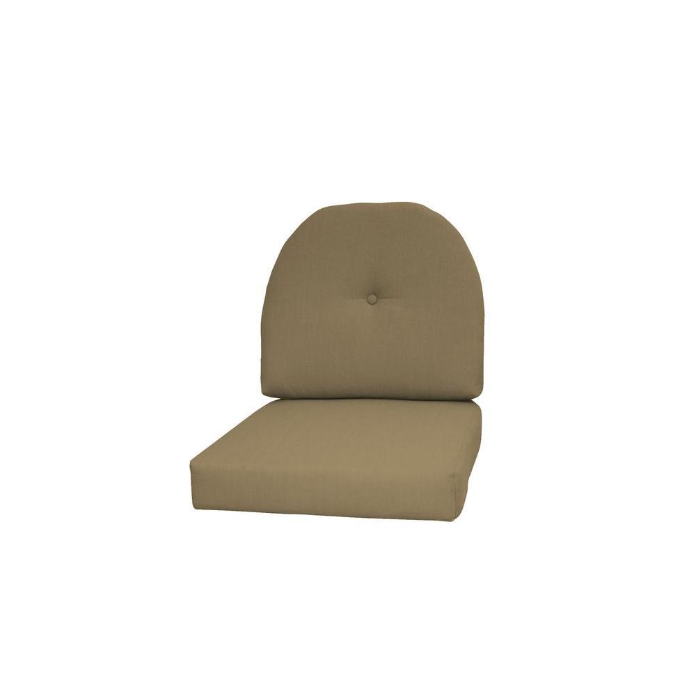 Paradise Cushions Sunbrella Sand 2-Piece Wicker Outdoor Chair ...