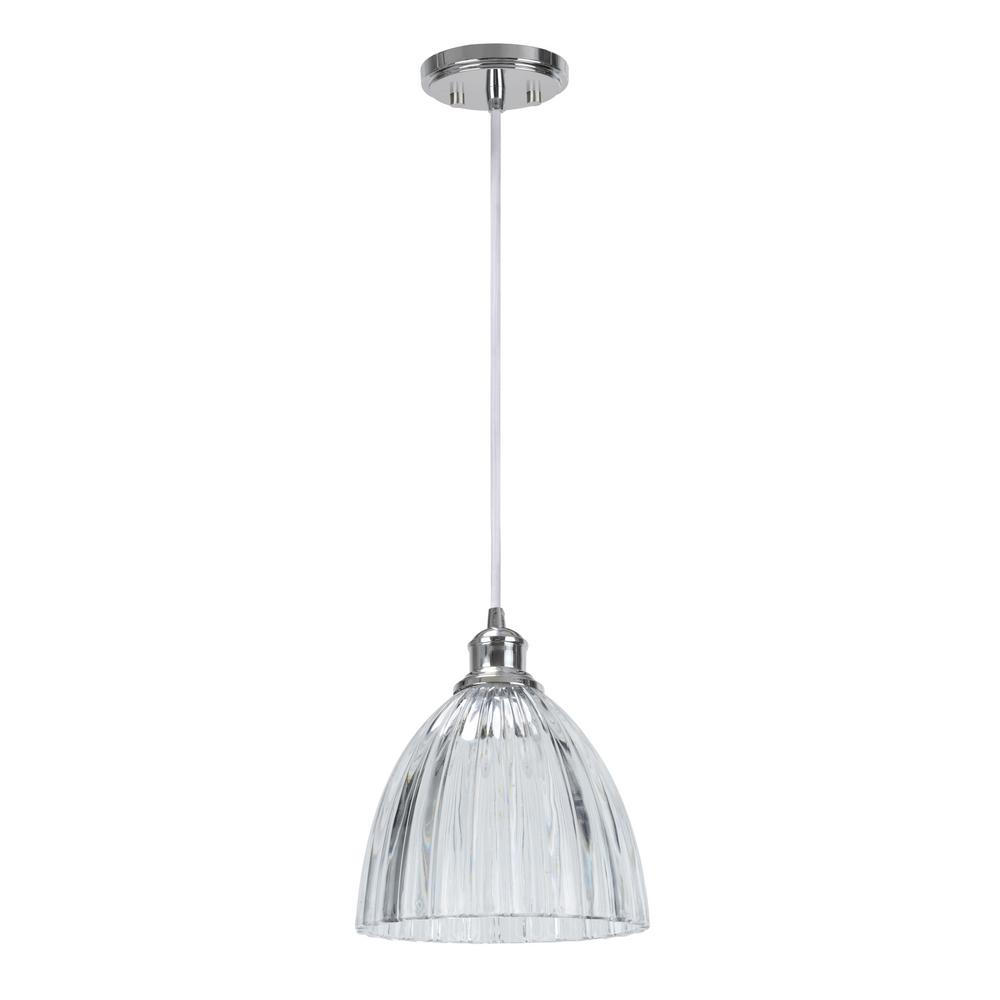 Aspen Creative Corporation 1 Light Chrome Mini Pendant With Clear Crystal Gl Shade