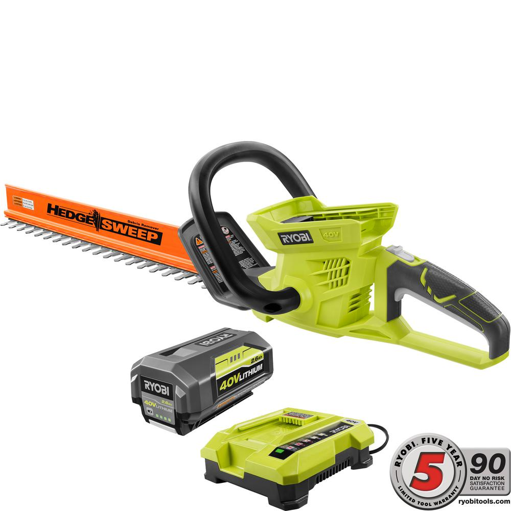Ryobi 24 in. 40-Volt Lithium-Ion Cordless Hedge Trimmer -...
