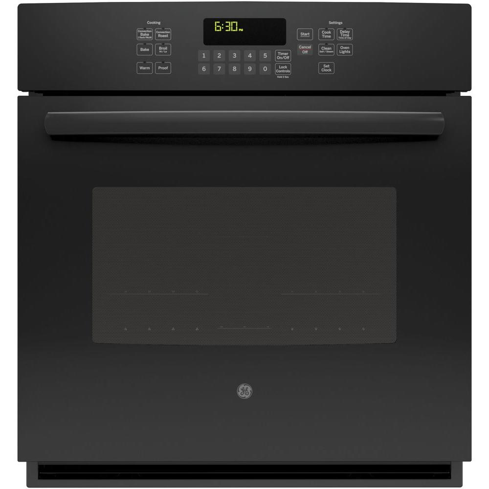 GE 27 in. Single Electric Wall Oven Self-Cleaning with Steam Plus Convection in Black