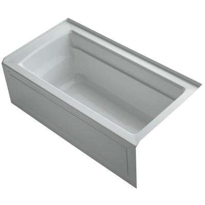 Archer 5 ft. Acrylic Right Hand Drain Rectangular Farmhouse Apron-Front Non-Whirlpool Bathtub in Ice Grey