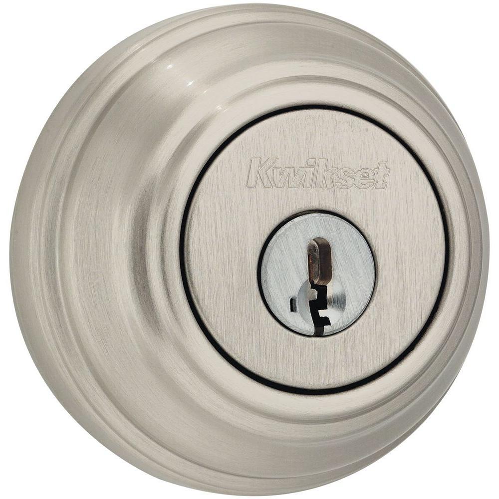 Kwikset Satin Nickel Double Cylinder Deadbolt featuring SmartKey Security
