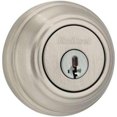 Satin Nickel Double Cylinder Deadbolt featuring SmartKey Security