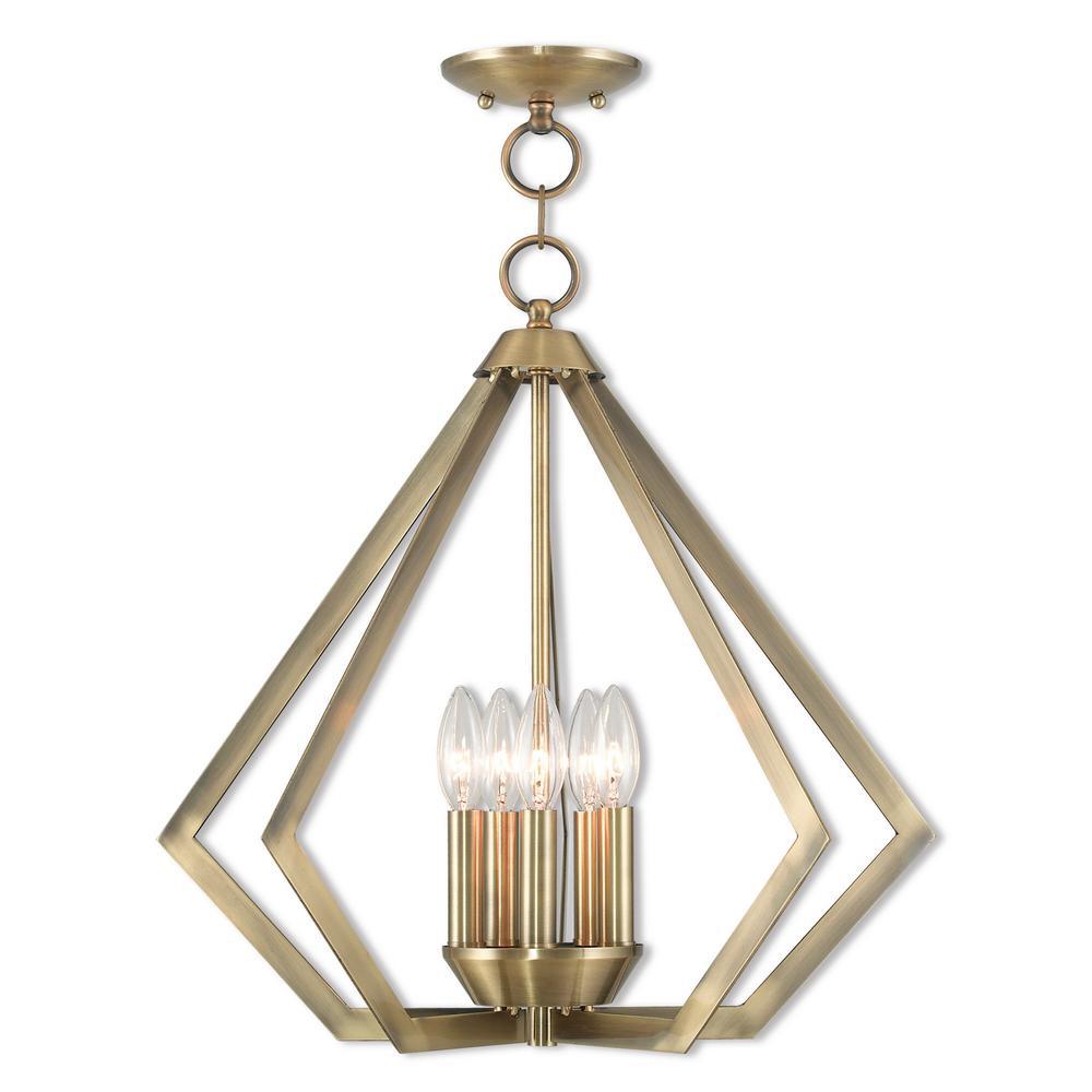Prism 5 Light Antique Brass Chandelier
