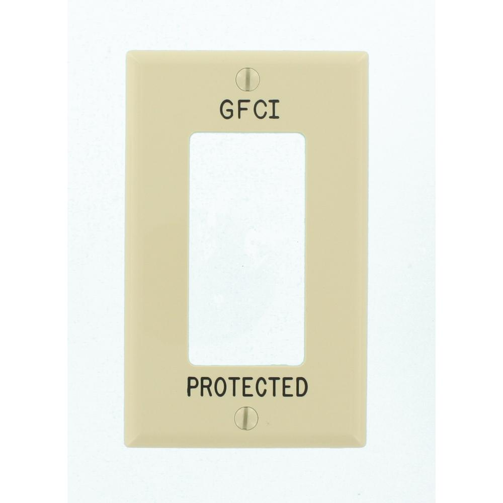 1-Gang Decora Wall Plate, Hot Stamped GFCI Protected, Ivory