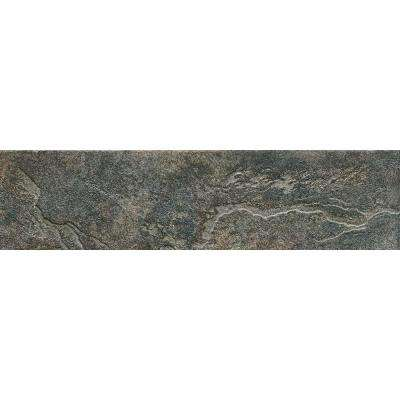 Mt. Everest Nero 3 in. x 12 in. Glazed Porcelain Bullnose Floor and Wall Tile