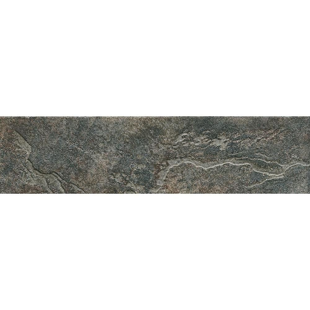 ELIANE Mt. Everest Nero 3 in. x 12 in. Glazed Porcelain Bullnose Floor and Wall Tile