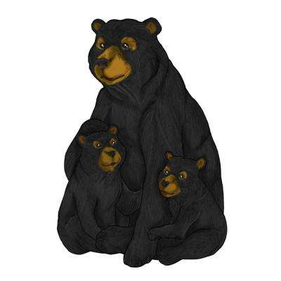 22 in. Tall Black and Brown Family Bear Garden Statue