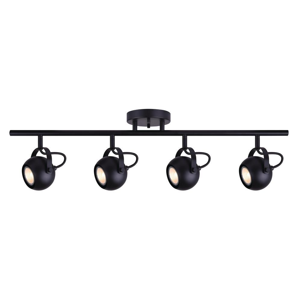 Murphy 2.4 ft. 4-Light Matte Black Halogen or LED Track Lighting Kit