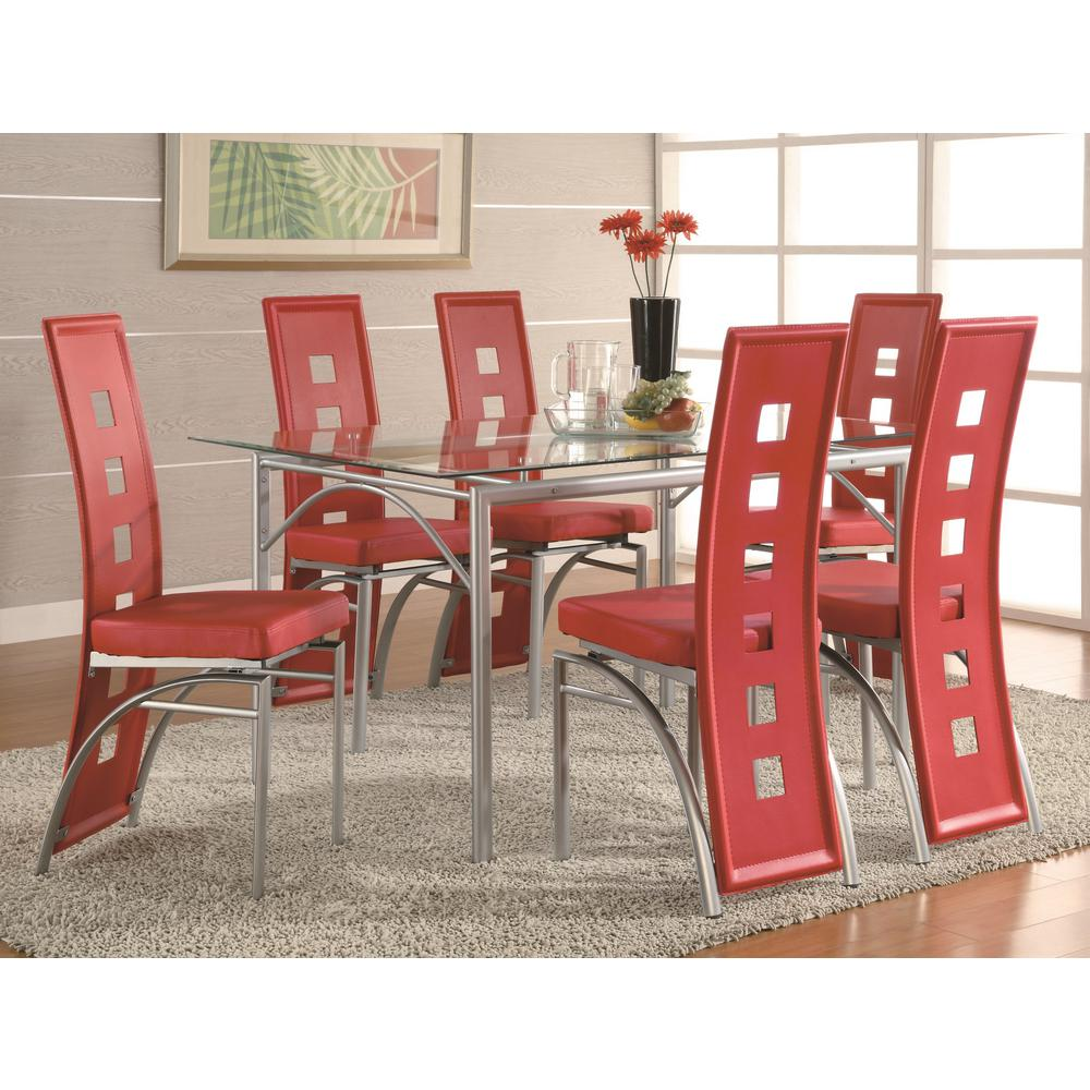 Contemporary Red Leatherette Keyhole Back Dining Chair (Set Of 2)