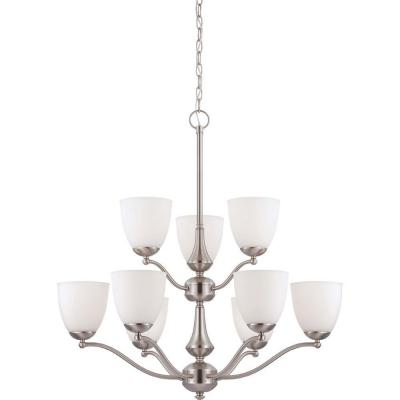 9-Light Brushed Nickel Chandelier with Frosted Glass Shade