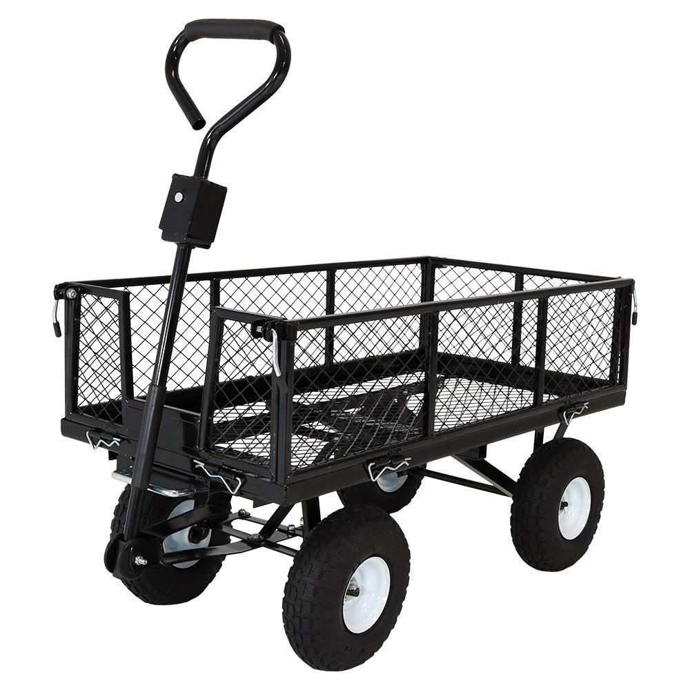 Black Steel Heavy-Duty Utility Cart with Folding Sides
