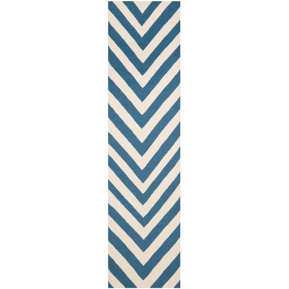 Dhurries Blue/Ivory 2 ft. 6 in. x 10 ft. Runner