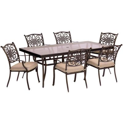 Seasons 7-Piece Aluminum Outdoor Dining Set with Tan Cushions and Glass-Top Table