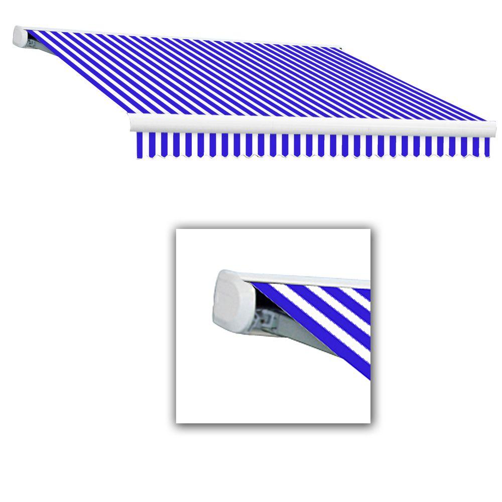 null 24 ft. Key West Right Motorized Retractable Awning (120 in. Projection) in Bright Blue/White Stripe