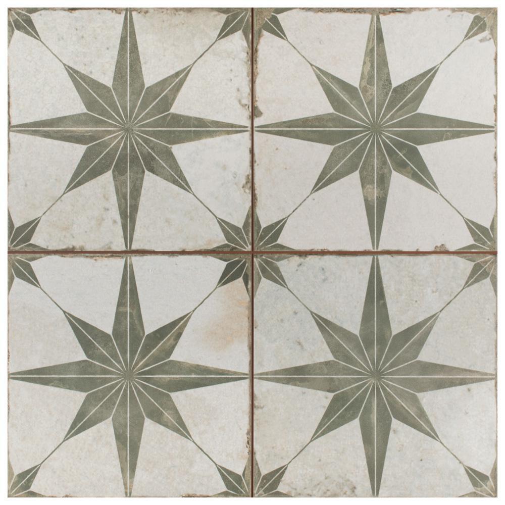 Merola Tile Kings Star Sage Encaustic