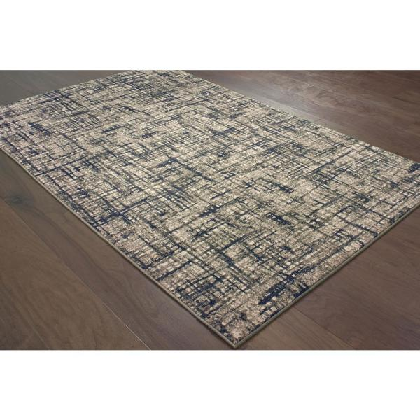 Unbranded Rydal Grey Navy 8 Ft X 11 Ft Abstract Area Rug 994996 The Home Depot