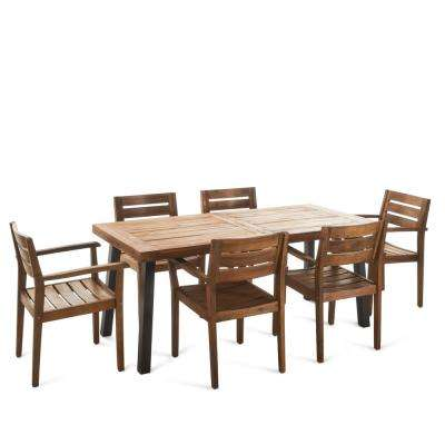 Veronica 7-Piece Teak Acacia Wood Rectangular Outdoor Dining Set