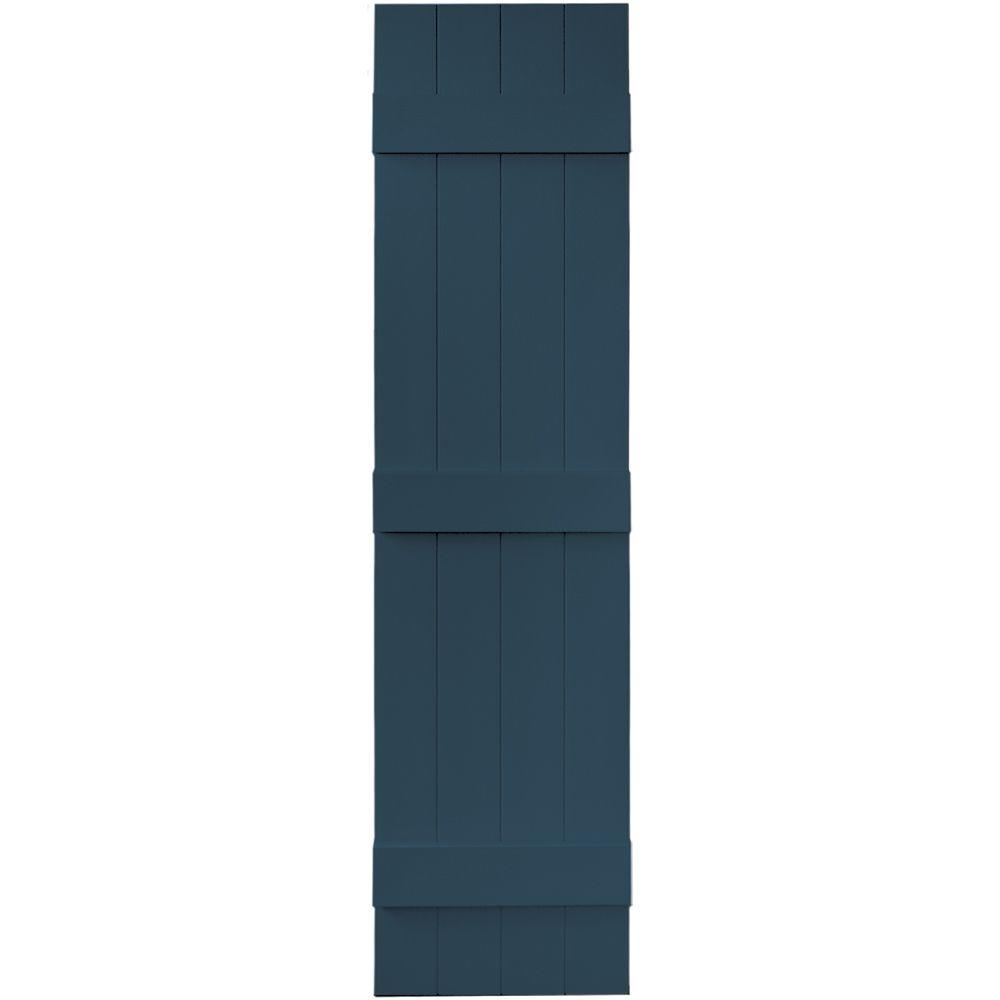 Builders Edge 14 in. x 59 in. Board-N-Batten Shutters Pair, 4 Boards Joined #036 Classic Blue