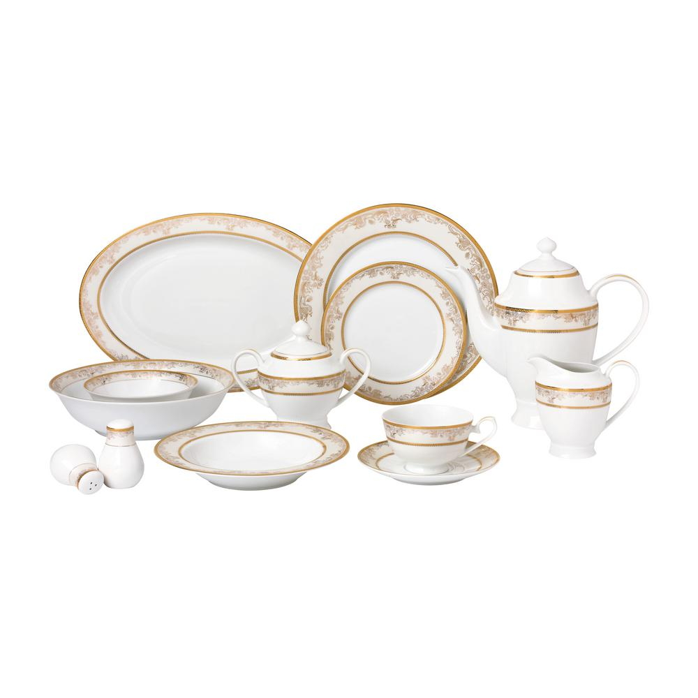 57-Piece Gold Dinnerware Set-New Bone China Service for 8-People-Chloe