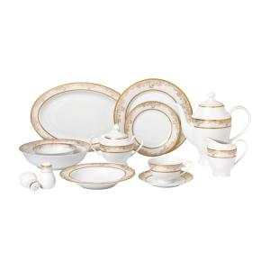 b7d7a00414ccc 57-Piece Gold Dinnerware Set-New Bone China Service for 8-People- · Lorren  Home Trends ...