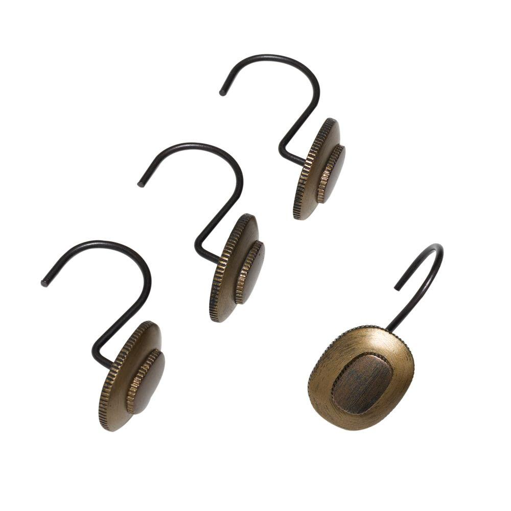India Ink Desoto Shower Curtain Hooks in Shades of Oil Rubbed Bronze, Gold and Bronze (12-Pack)