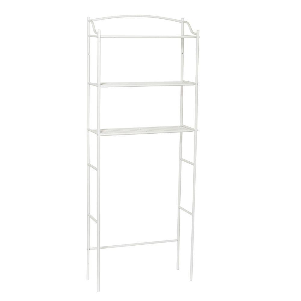 Zenna Home 23-1/2 in W x 61-1/10 in. H x 9-1/2 in. D Metal 3-Shelf Over the Toilet Storage Space Saver in White