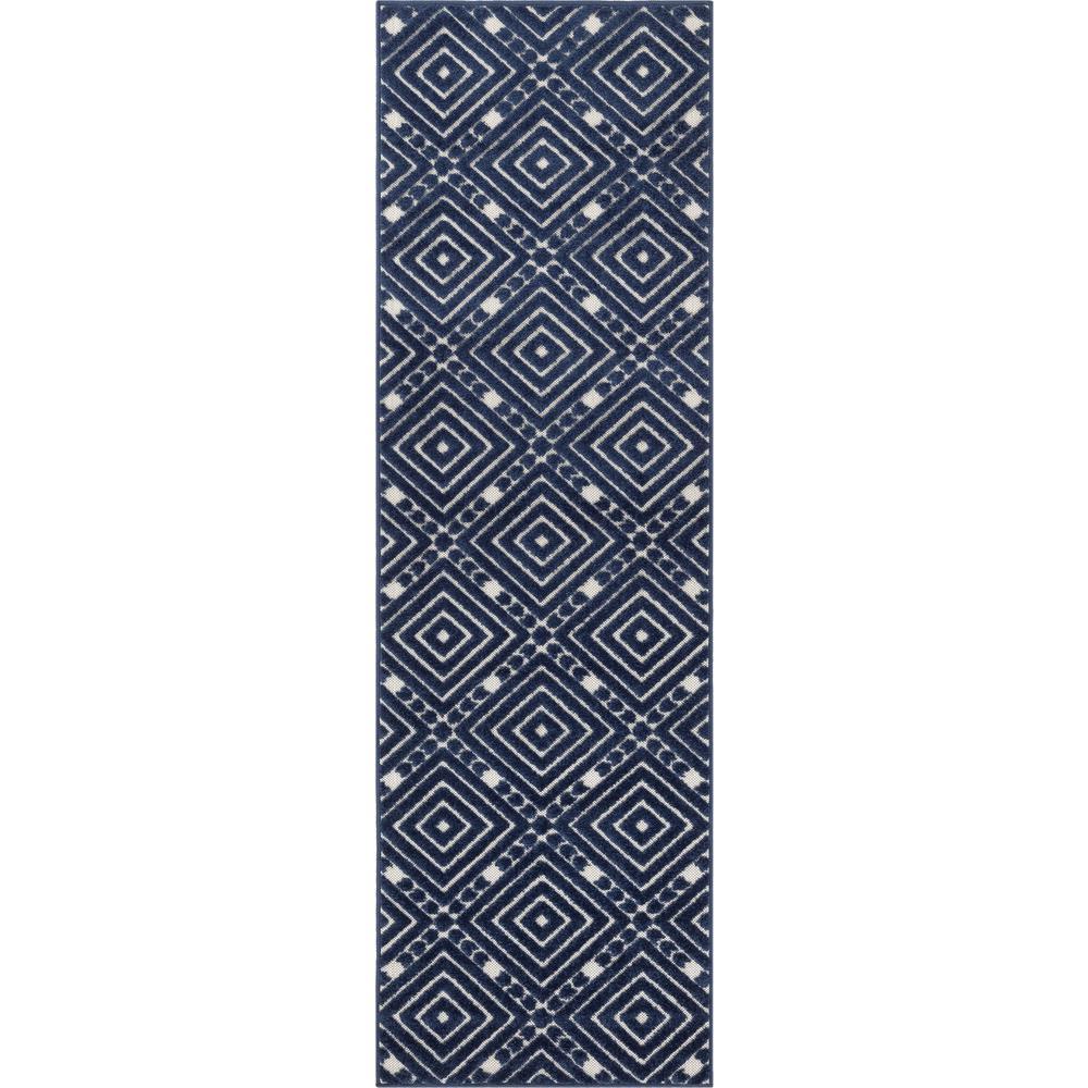 Dorado Metier Modern Geometric Trellis Blue High-Low Indoor/Outdoor 2 ft. 3 in. x 7 ft. 3 in. Runner Rug
