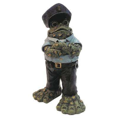 13 in. Policeman Toad Collectible Home and Garden Frog Statue