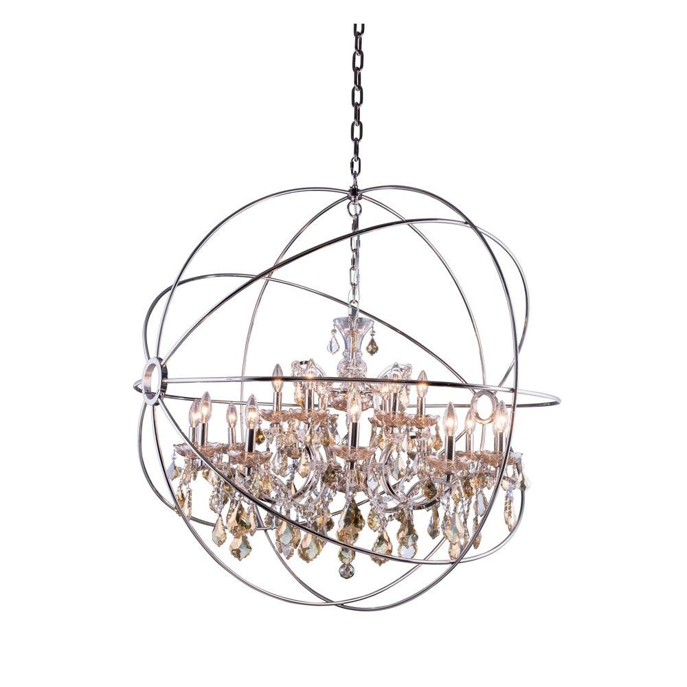 Elegant Lighting Geneva 18 Light Polished Nickel Chandelier With Golden Teak Smoky Crystal