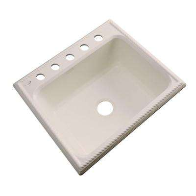 Wentworth Drop-In Acrylic 25 in. 5-Hole Single Bowl Kitchen Sink in Candlelyght