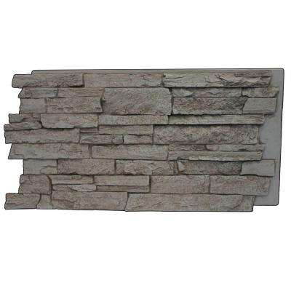 Gray Rock 24-3/4 in. x 48-3/4 in. x 1-1/4 in. Faux Mountain Ledge Stone Panel