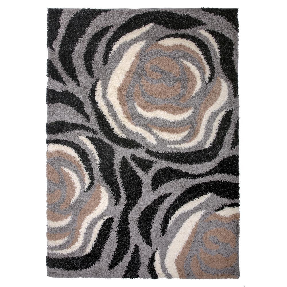 Cozy Shag Floral Area Rug 5' x 7' Beige