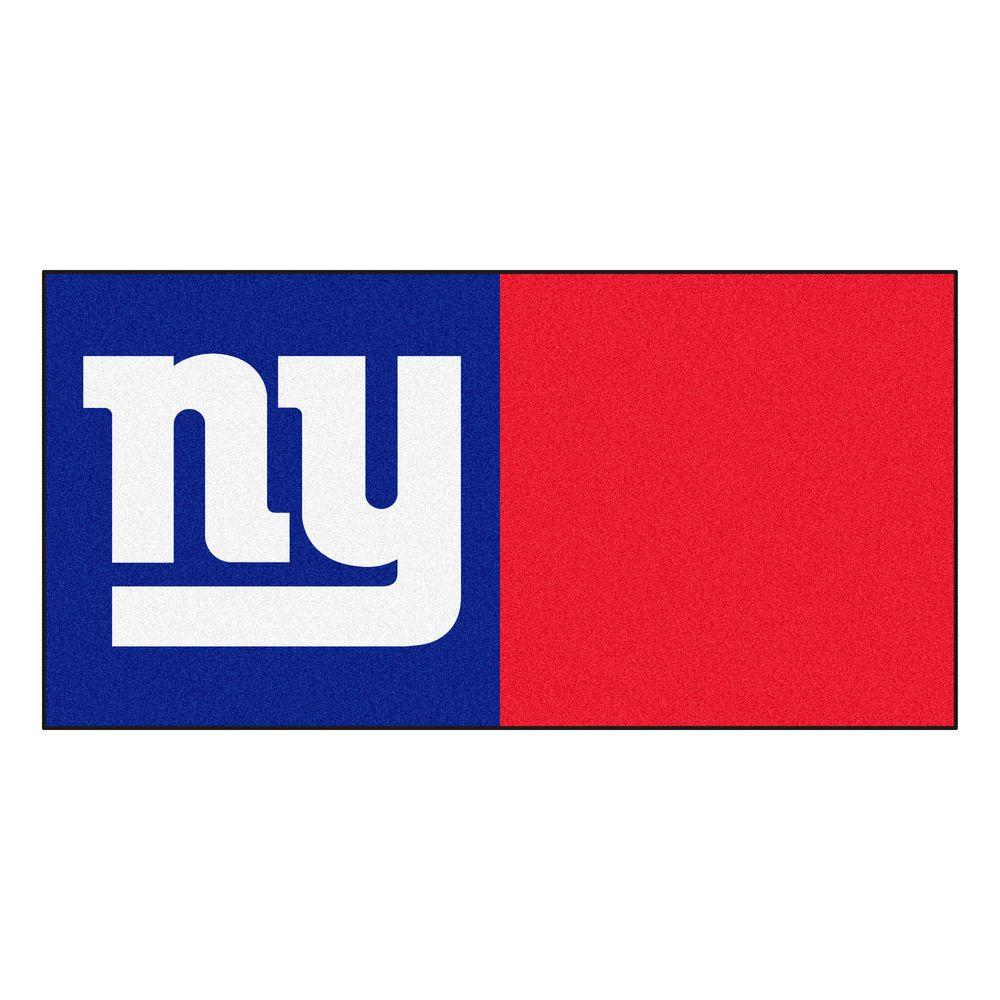 san francisco 18544 5dd04 FANMATS NFL - New York Giants Blue and Red Nylon 18 in. x 18 in. Carpet  Tile (20 Tiles/Case)