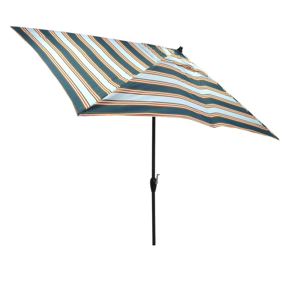 10 ft x 6 ft aluminum market tilt patio umbrella in charleston stripe 9106 01209100 the home. Black Bedroom Furniture Sets. Home Design Ideas