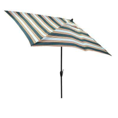 10 ft. x 6 ft. Aluminum Market Tilt Patio Umbrella in Charleston Stripe