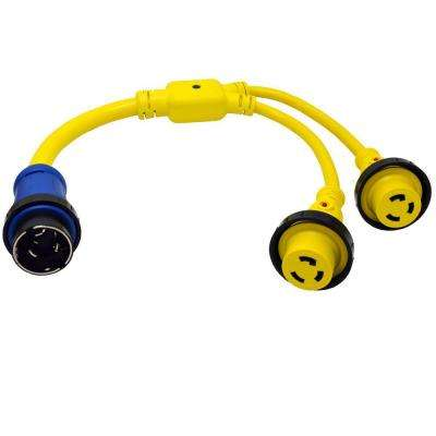 3 ft. 6/4+10/3 Marine Y Adapter Cord 50 Amp 125/250-Volt 4-Wires Maine Plug to (2) 30 Amp Marine Female Connector