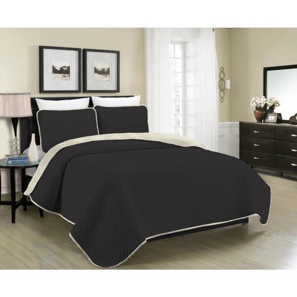 Austin 4-Piece Black/Cream Full/Queen Quilt Set