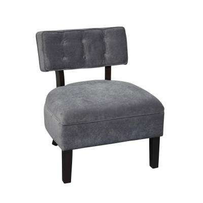 Curves Charcoal Velvet Accent Chair