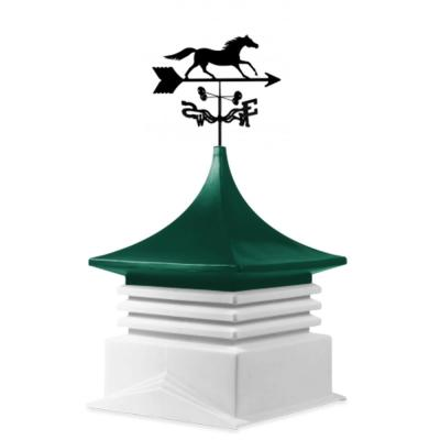 22 in. x 22 in. White Base and Green Top Poly Cupola with Horse Weathervane