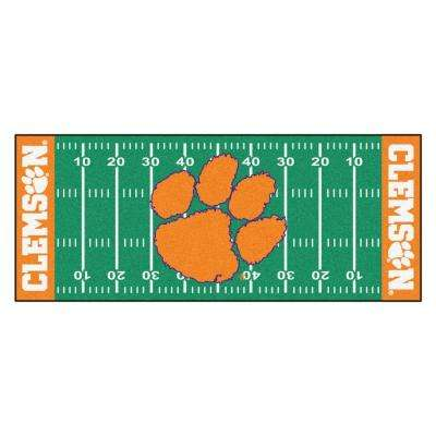 NCAA -Clemson University Green 3 ft. x 6 ft. Indoor Football Field Runner Rug