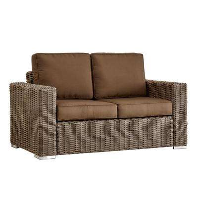 Camari Mocha Square Arm Wicker Outdoor Loveseat with Brown Cushion