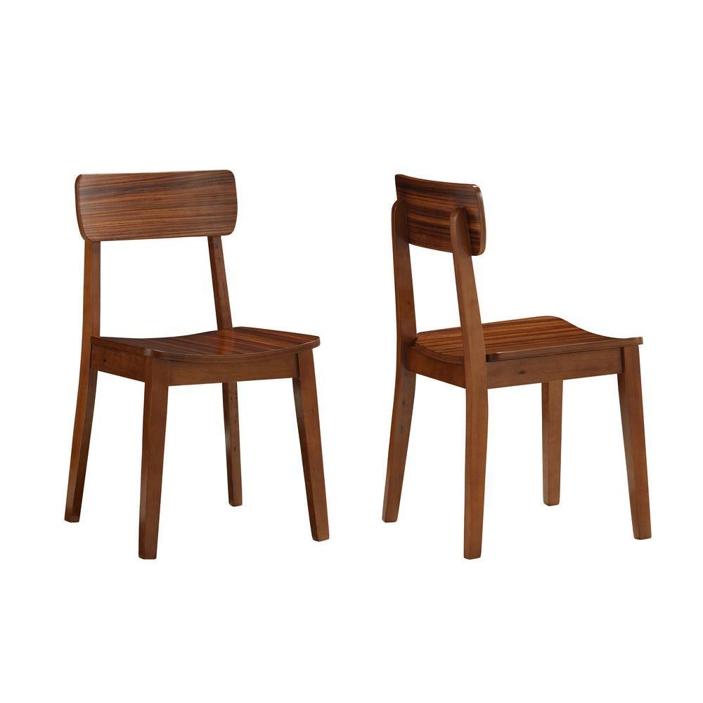Boraam Zebra Hagen Rich Walnut Wood Dining Chair (Set of 2)-33312 ...