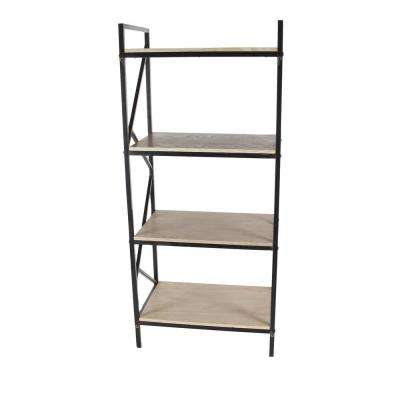 Contemporary 74 in. x 29 in. 5-Tier Iron and Wood Shelf